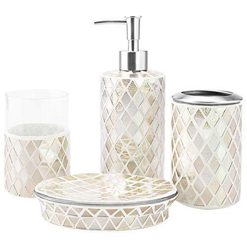 4-Piece Housewares Glass Mosaic Bathroom Accessory Set, Durable Bath Organizer Includes Soap Dispenser Pump, Toothbrush Holder, Tumbler, Soap Dish Sanitary, High Class Home Decor Gift (Gold)