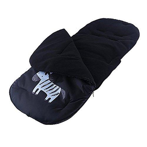 Saco de invierno dormir térmico para carrito cochecitos silla de bebé universal abrigo polar, Cubrepiernas Impermeable para Bebé (negro)
