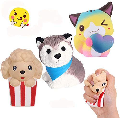 Anboor 3 Piezas Squishies Perro Gato Kawaii Perfumado Suave Lento Levantamiento Squishies de Animales Squeeze Stress Relief Kids Toy Prime Collection Gift
