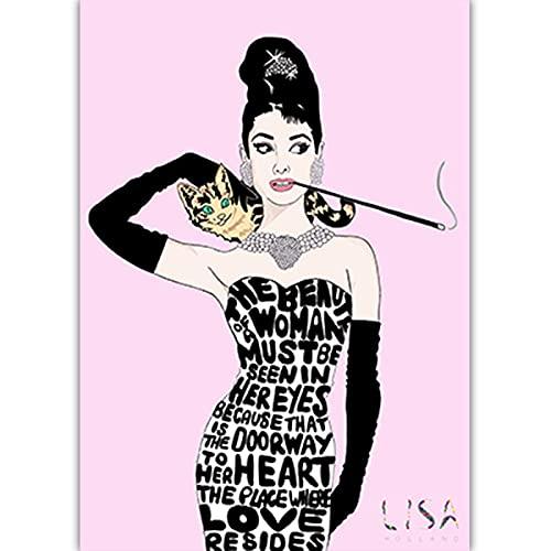 Czarno-biała sztuka fotograficzna Audrey Hepburn obraz na płótnie Nordic plakaty drukuj Salon Home Decor C20 50 × 70 CM bez ramki