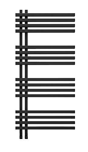 anapont Radiador eléctrico de baño Terra, color negro, función de temporizador, toallero radiador, calefacción eléctrica para toallas,...