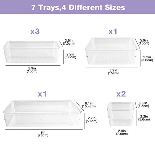 Puricon 7 Pcs Desk Drawer Organizers Trays Set Clear Plastic Storage Bins Bathroom Drawer Tray Dividers Vanity Trays Organizer for Bedroom Dresser Makeup Kitchen Utensil Office