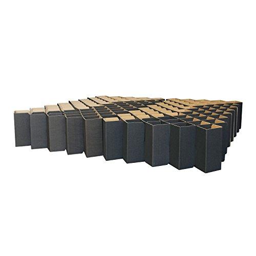 ROOM IN A BOX Bett 2.0 L/Schwarz: Klappbett aus Wellpappe 160 180 200 x 200 cm und Zwischengrößen. Auch als Gästebett. Lattenrost Nicht nötig.