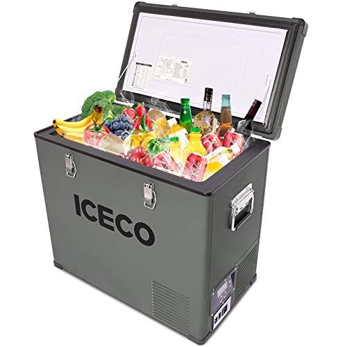 ICECO 63 Quart Single Zone Portable Refrigerator Freezer Fridge, 60 Liters Compact Refrigerator with SECOP Compressor, 12V Cooler Refrigerator, AC 110-240V, DC 12/24V, 0℉ to 50℉, Home & Car Use