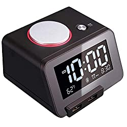 Homtime [Upgraded Version] Loud Alarm Clock for Bedrooms with Bluetooth Speaker for Heavy Sleepers, 2-Port Universal USB Charger, Large Dimmable LCD Screen, Thermometer, Snooze, Warranty – Black