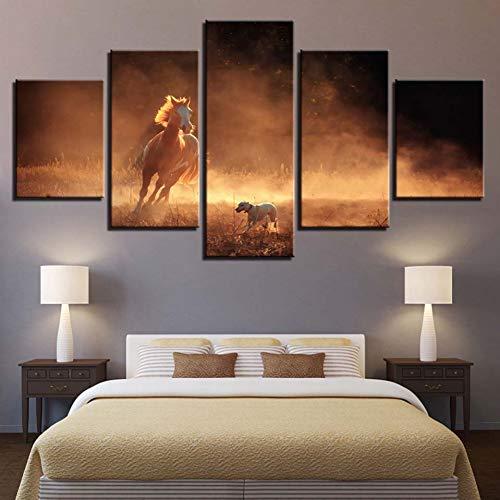 UDPBH muurkunst schilderij op canvas HD druk huisdecoratie 5 stuks dieren paarden foto's nachtkastje achtergrond werk poster 40x60cmx2 40x80cmx2 40x100cmx1 No Frame