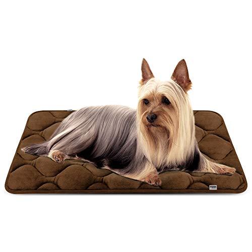 Hero Dog ペットマット 犬マット ペットベッド クッション 洗える 犬用ベッド 柔らか 犬ケージ用マット 清掃しやすい 滑り止め 肌触りよい(ブラウン S)
