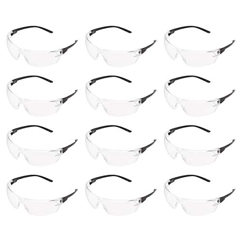 AmazonCommercial Safety Glasses (Clear/Black), Anti-Fog, 12-pack