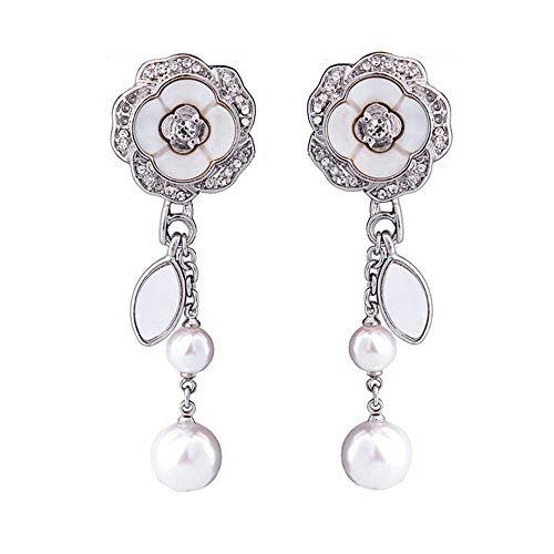 ZRDMN Pendientes de botón Joyería Dangler para mujeres Flor de concha de perla brillante Pendientes largos Temperamento femenino Joyas de orejas europeas y americanas salvajes