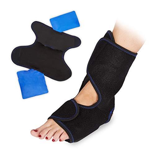 Relaxdays 10027264, attelle, 2 poches de gel, bandage pied chaud froid, protège-cheville, noir, PVC, polyester, bleu, 1