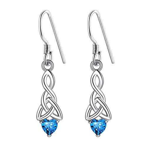 Celtic Knot Earrings For Women Sterling Silver, Irish Knot Earrings, December Birthstone Dangle Earrings, Womens Celtic Birthstone Earrings