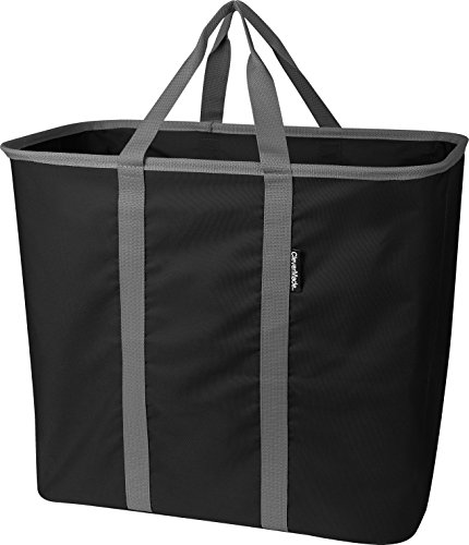 Product Image of the CleverMade Collapsible Laundry Tote, Large Foldable Clothes Hamper Bag, LaundryCaddy CarryAll XL Pop Up Storage Basket with Handles, Black/Charcoal