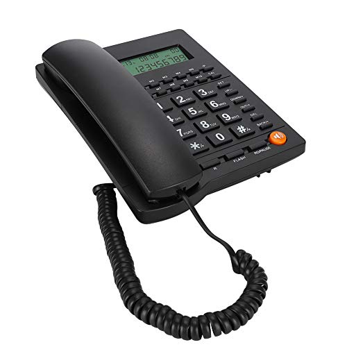Queen.Y Corded Phone Desk Landline Telephone with Backlit Display Caller ID & Call Waiting Function for Home Office Hotel Restaurant,Black