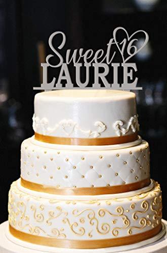 Ad4ssdu4 Sweet 16 Cake Topper Benutzerdefinierte 16. Geburtstagstorte Topper Sweet 16 Geburtstagsfeier Cake Topper Sweet 16 Topper