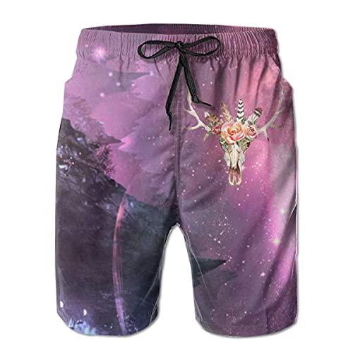 GOSMAO Bañadores para Hombre Pantalones Cortos de Verano clásicos de Acuarela de Calavera de Vaca Pantalones Cortos de baño Casuales con Bolsillos para Hombres