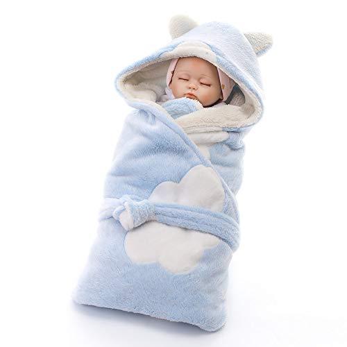Swaddling Blanket Baby Winter Coral Velvet Saco de dormir Newborn Angel's Nest Nacimiento Infantil Unisex Saco de dormir suave Universal Warm Langer para camas Cochecitos Cochecitos (azul)