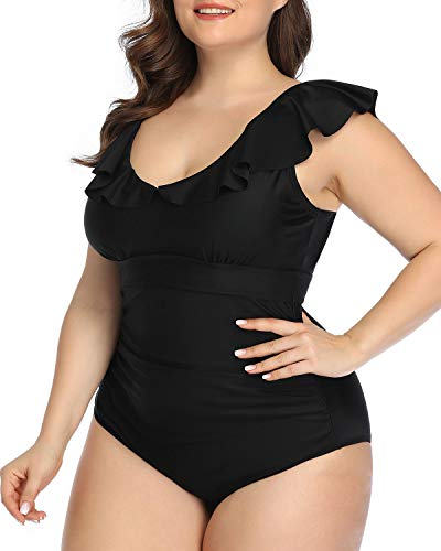 Daci Women Plus Size One Piece Swimsuits Black Ruffled V Neck Tummy Control Bathing Suits Black 20 Plus