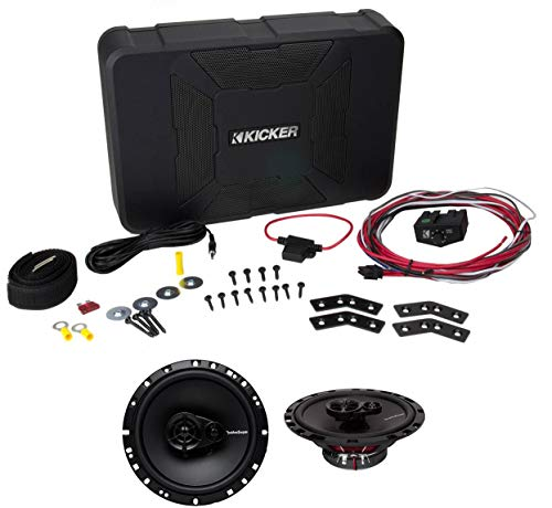 KICKER 11HS8 8″ 150W Hideaway Car Audio Powered Subwoofer Sub HS8+6.5″ Speakers