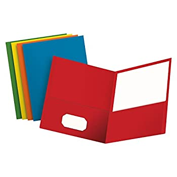 Oxford Two-Pocket Folders Textured Paper Letter Size Assorted Colors  Red Light Blue Orange Yellow Green Box of 50 Holds 100 Sheets  67613