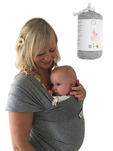 •NEUE DEUTSCHE VERÖFFENTLICHUNG!• DaisyGro™ Premium Baby Tragetuch | 2 GRÖSSEN OPTIONEN | Baby Wickeltuch | Neugeborene, Säuglinge, Kleinkinder | Still-Abdeckung | atmungsfähige weiche Baumwolle | grau | Ideales Geschenk