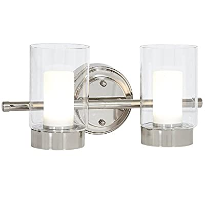Polished Nickel Candle Light Fixture | Glass Surrounded LED Lighting Fixture | Vanity, Bedroom, or Bathroom | Interior Lighting