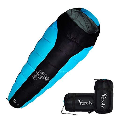Voroly Women's and Men's Polyester Waterproof Mummy Sleeping Bag for 3 Season (Black)
