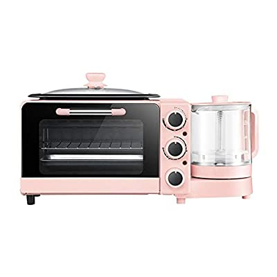 Four-in-One Multifunctional Breakfast Machine, Independent Control of Knobs, Full-Screen Tempered Glass, Non-Stick Coating Frying Pan, with Health Pot, Pink.