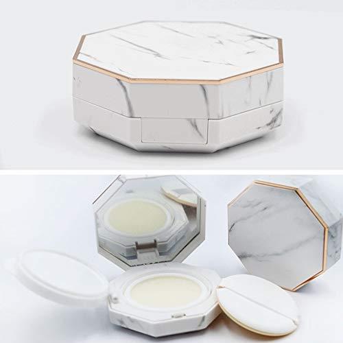 15ml 0.5oz White Empty Luxurious Air Cushion Puff Box Portable Magic Cushion Make-up Powder Container with Air Cushion Sponge Powder Puff and Mirror for BB CC Liquid Foundation Cream