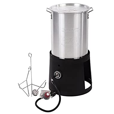 FDW Portable Propane Cooker with 30-Quart Outdoor Turkey Fryer Kit Aluminum Pot