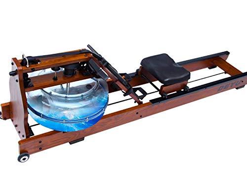 YUMO Máquina de Remo de Madera de Interior silencioso, máquina de Remo Resistente al Agua con Pantalla LCD, reposapiés y Banco Ajustables, Adecuado para el Ejercicio de Fitness en casa