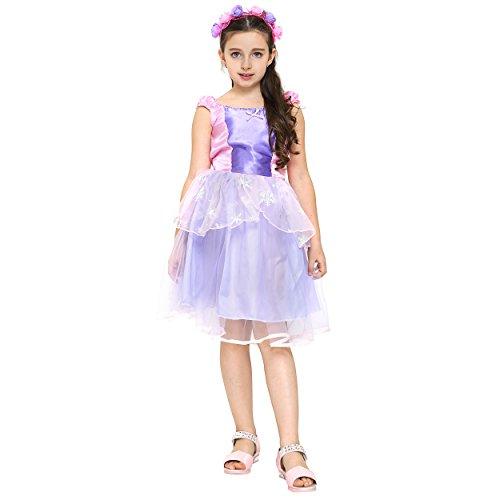 Katara - feekostuum voor meisjes - kinderen prinsesjurk met tule rok en strik - ideaal geschenk en bekleding voor de carnaval - accessoires van hoofdband, toverstaff, roze/lila
