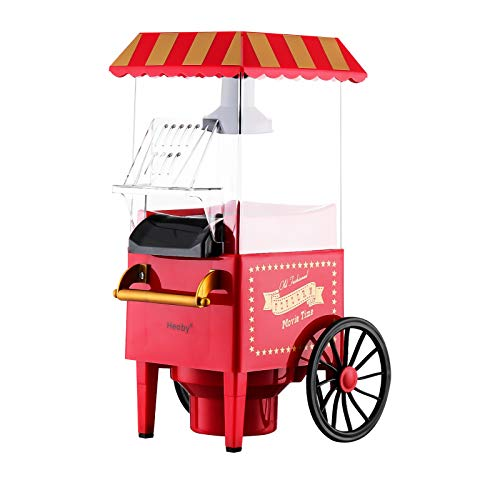 Heoby B004 Old Fashioned Popcorn Machine, Hot Air Popcorn Popper, Electric Pop Corn Maker, Healthy and Quick Snack, 1200W, 110V, Red