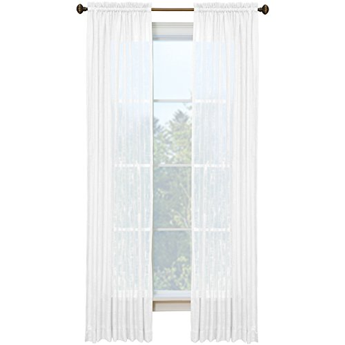 Style Selections Kenna 84-in Snow Polyester Rod Pocket Light Filtering Semi-sheer Single Curtain Panel