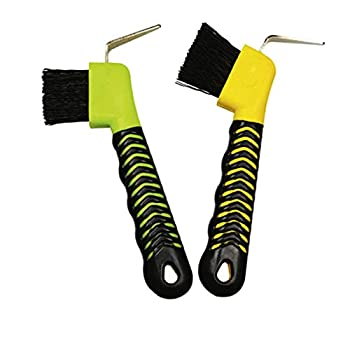 Weilan 2PCS Horse Hoof Pick Brush with Deluxe Soft GripTouch Rubber Handle,Partrade Hoofpick,Random Colors