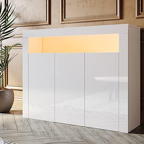 SONNI Aparador Blanco Brillo con 3 Puertas,Mueble Comedor Brillante con Iluminación LED 116x35x93cm,Armario Entrada para Salón/Cocina