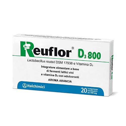 Reuflor D3800compresse | IntegratoreAlimentarea base di FermentiLatticiVivie vitamina D3 | Per adulti e bambini |Confezioneda20compressemasticabili