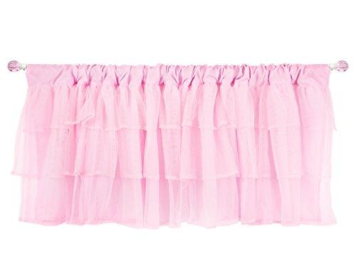 Tadpoles Layered Tulle Window Valance, Girls Window Valance for Nursery Room Bedroom, Pink, 60x16 Inch