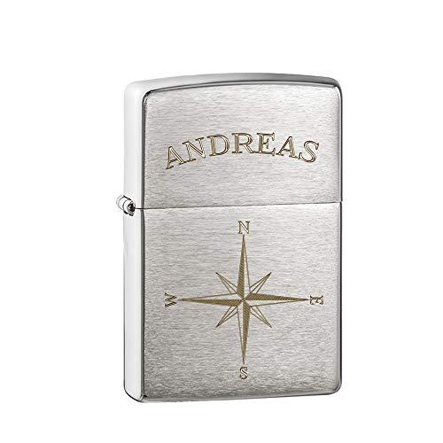 Gravado Original Zippo Benzinfeuerzeug aus Stahl graviert mit Kompass, Personalisiert mit Name, Inkl. Schwarzer Geschenkbox