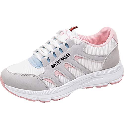 Zapatillas de Plataforma para Mujer Zapatos Informales con Cordones Ligeros y Transpirables de Malla Zapatillas Deportivas Antideslizantes para Correr para Mujer