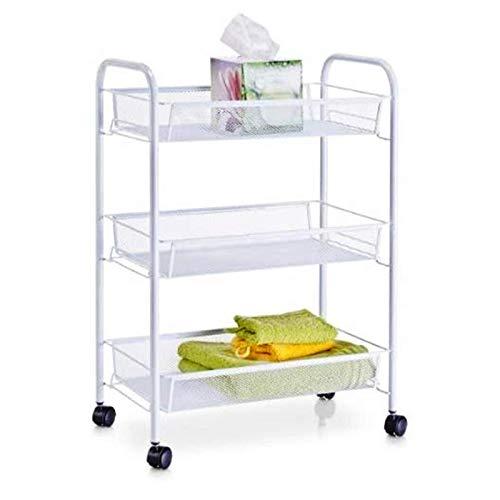 Trolley CXIA Home - Carrito de cocina con ruedas bloqueables con cerradura y cesta de malla de metal para verduras, para cocina, hogar, oficina, cuarto de baño (color: blanco)