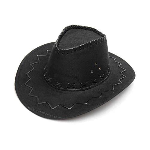 Chowcencen Kinder Vintage-Wide Brim Kopfbedeckung Cap Western-Cowboy-Hut Kopfbedeckung Cap-Jungen-Mädchen-Jazz-Kappe Frühlings-Sommer-Hut - Schwarz