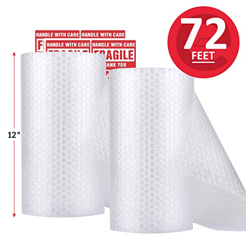 enKo (2 Pack) 12 inch x 72 feet Bubble Cushioning Wrap Roll Perforated 20 Fragile Sticker Labels for Moving Shipping Packing Boxes Supplies