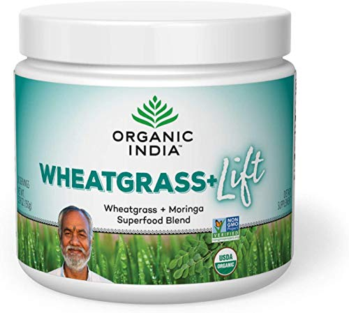 Organic India Wheatgrass+ Lift Herbal Powder - Wheatgrass & Moringa Superfood Blend, Immune System Support, Vegan, Gluten-Free, USDA Organic Certified, Fairtrade - 1 Canister, 5.29 oz (30 Servings)