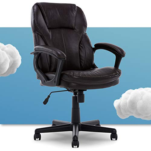 Serta Manager Office Chair with Layer Body Pillow   Faux Leather with Contoured Lumbar and...