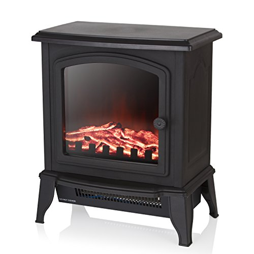 Warmlite WL46021 Mable Electric Compact Stove Fire with Adjustable Thermostat Control, Realistic LED Flame Effect, Overheat Protection, Thermal Cut-Off, 2 Heat Settings 1000-2000 W, Black