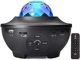 Stjärnhimmel projektor, fjärrstyrd LED musik nybelysning stjärnhimmel lampa med bluetooth högtalare ljudsensor och timer...