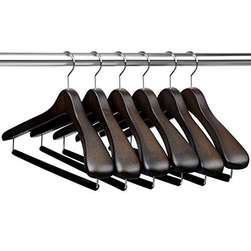 IEOKE ハンガー 木製 スーツハンガー スラックス用バー付 6本組 【1年品質保証付き】EK1080