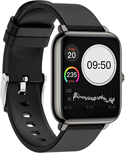 Smartwatch Fitness Tracker Uhr Armbanduhr Schrittzähler Blutdruckmessung Uhr Pulsuhr Wasserdicht Stoppuhr SMS-Anruf Jugendlichen Damen Herren für IOS 9.0 Android 5.0 Handy (Schwarz)