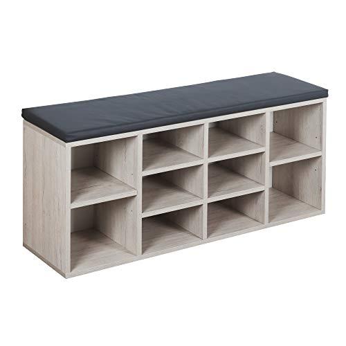 RICOO WM033-EP-A, Schuhregal, 104x49x30 cm, Holz Eiche Hell, Sitzbank mit Stauraum, Schuhschrank mit...