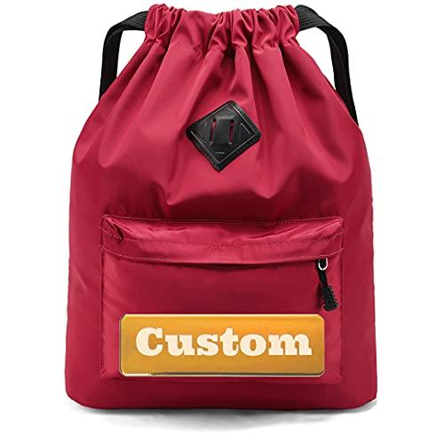 FireH Nombre Personalizado Bolsa de Mochila con cordón Ligero para Hombres Deportes de Mochila (Color : Rojo, Size : One Size)